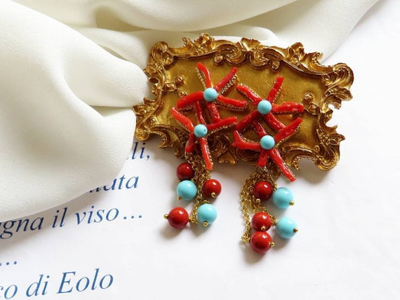 Falling Earrings with Red Coral and Turquoise stones