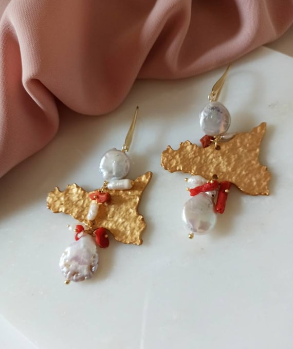 Long Earrings with Baroque Pearl Coins and Brass Sicily