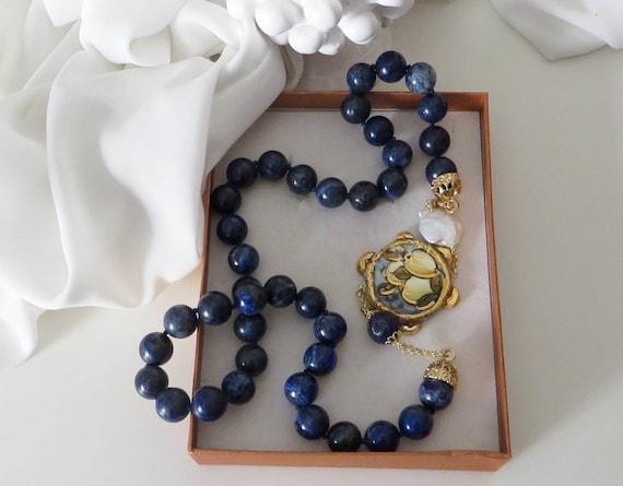 Blue Lapis necklace with Sicily Ceramic Tambourine