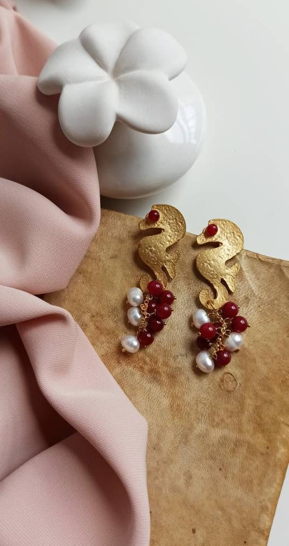 Statement earrings with Brass Seahorses and Colorful stone cluster