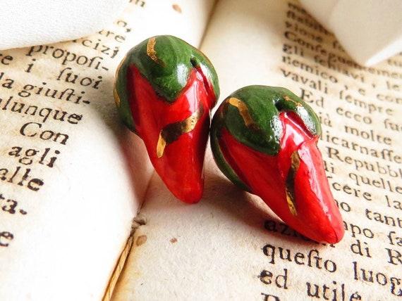 Sicily Ceramic Sweet Pepper Stud Earrings