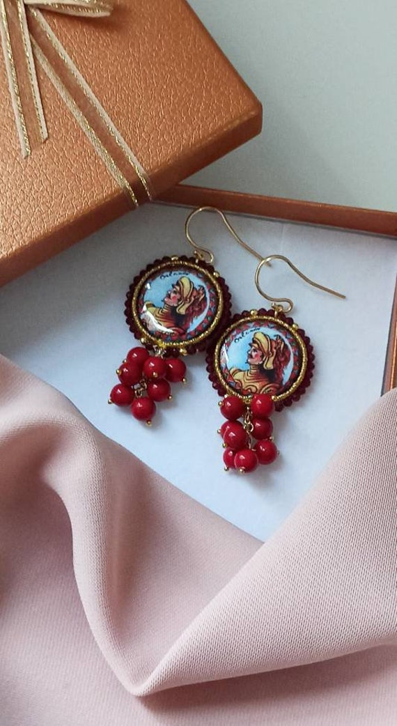 Baroque style Tile Earrings with red cluster