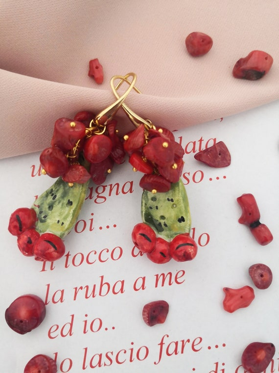Baroqe style earrings with Sicily ceramic prickly pear