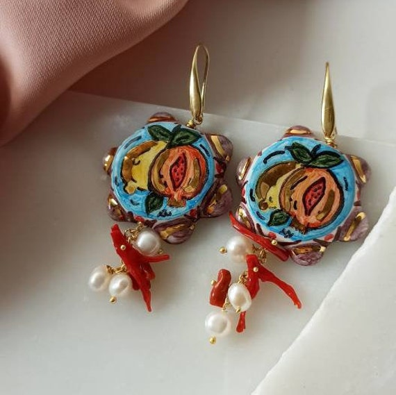 Baroque style earrings with Sicily Ceramic Tambourines