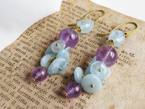 Amethyst and Aquamarine Cluster Earrings