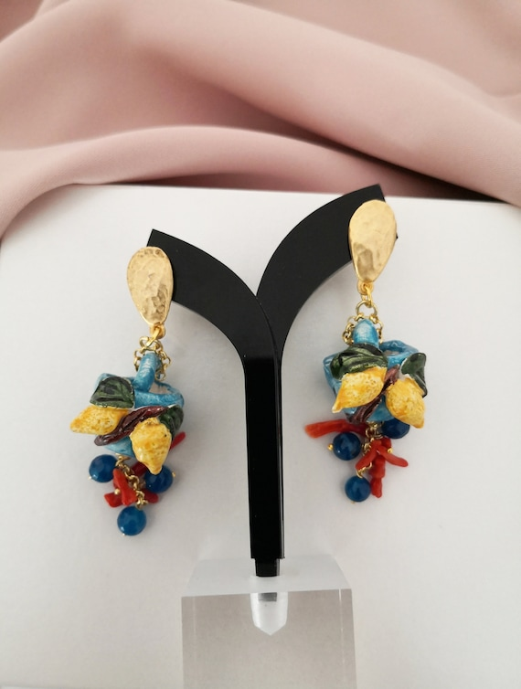 Baroque style Sicily Coffe bag earrings