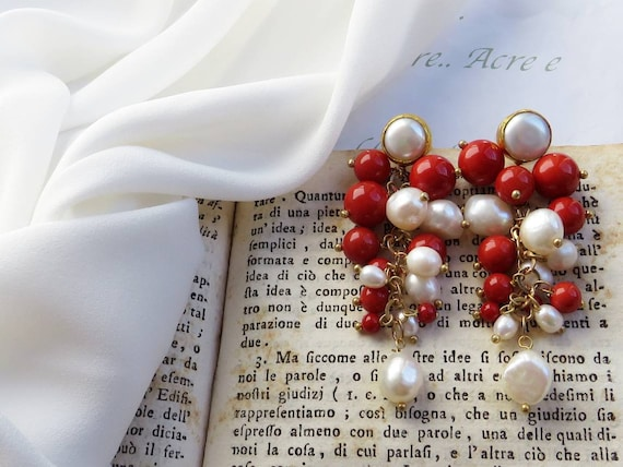 Long Cluster Earrings with Pearls and Red Coral Paste Stones