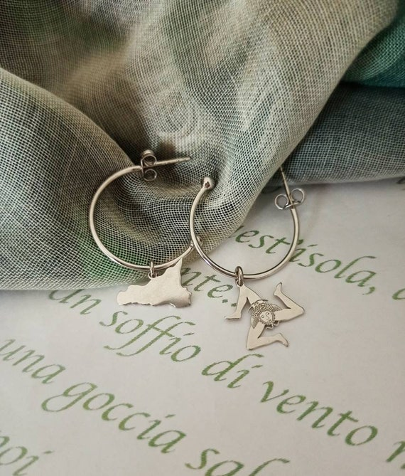 Hoop earrings with Sicily charm and Trinacria charm