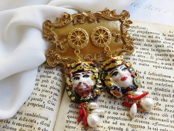 Sicilian Moor Head Earrings