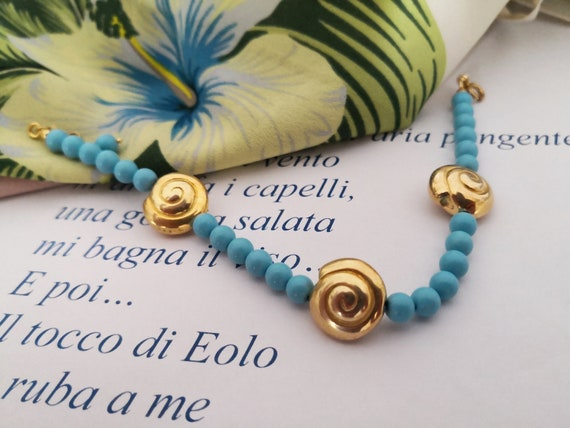 Turquoise bracelet for women with shells