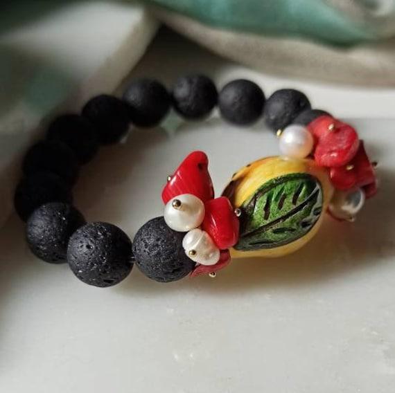 Lava rock bracelet with sicily ceramic lemon