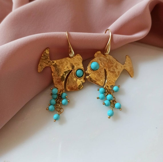 Brass Fish Earrings