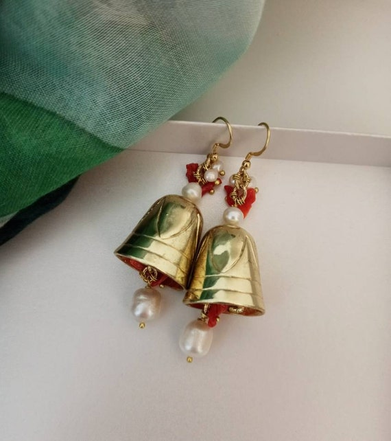Gold Bell Earrings with Freshwater Pearls