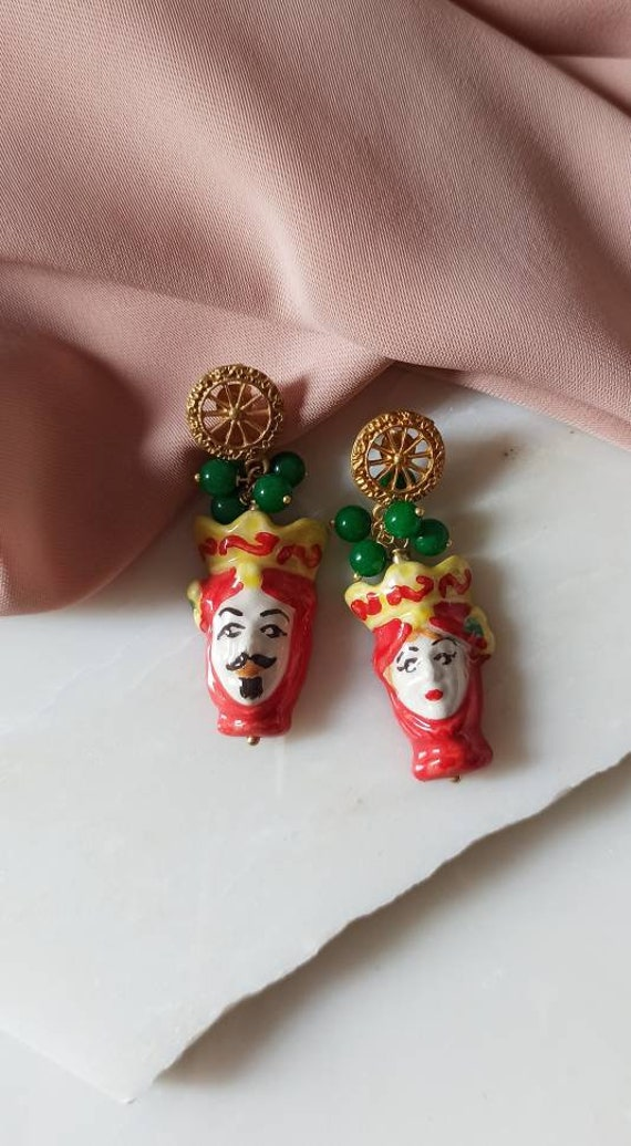 Baroque style sicily earrings with sicilian ceramic heads