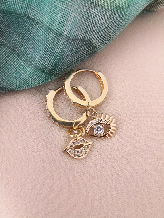 CZ Gold Hoops with pave charms