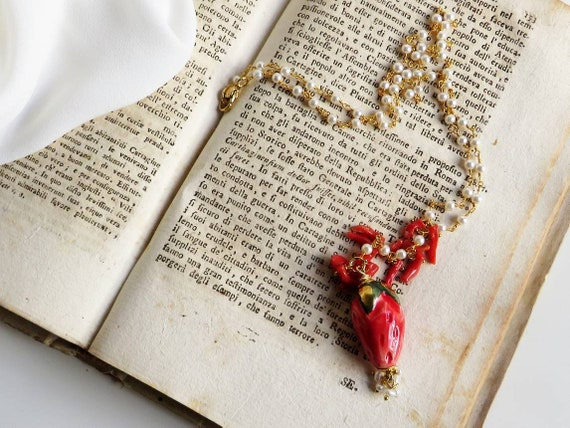 Rosary Chain Necklace with Sicily Ceramic Strawberry