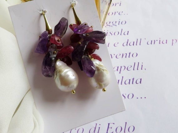 Pearl Drop Earrings with purple stone cluster