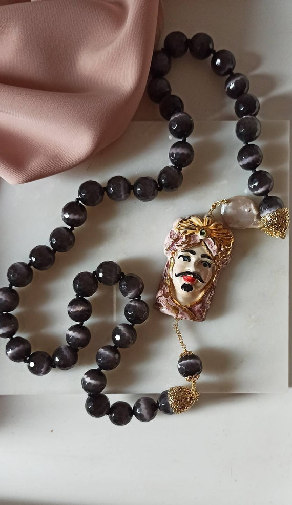 Sicilian necklace with grey Stones and Sicily ceramic Head