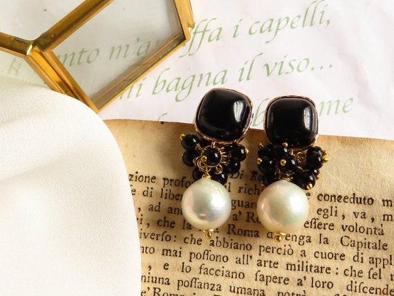 Black wedding baroque Pearl earrings