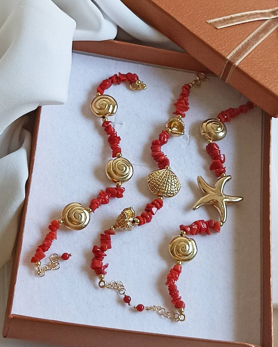 Red Coral Bracelet with Gold plated 925 Silver Connectors