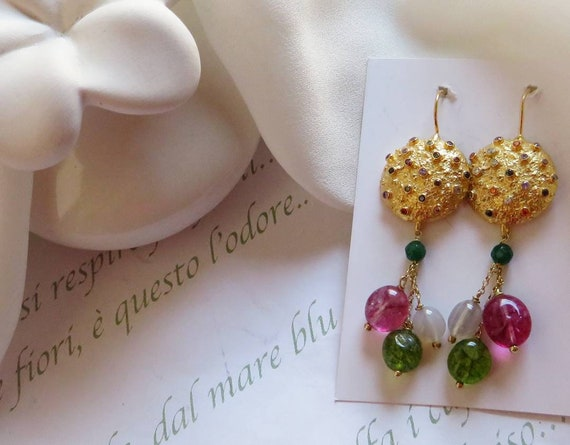 Falling Earrings with Tourmaline stones