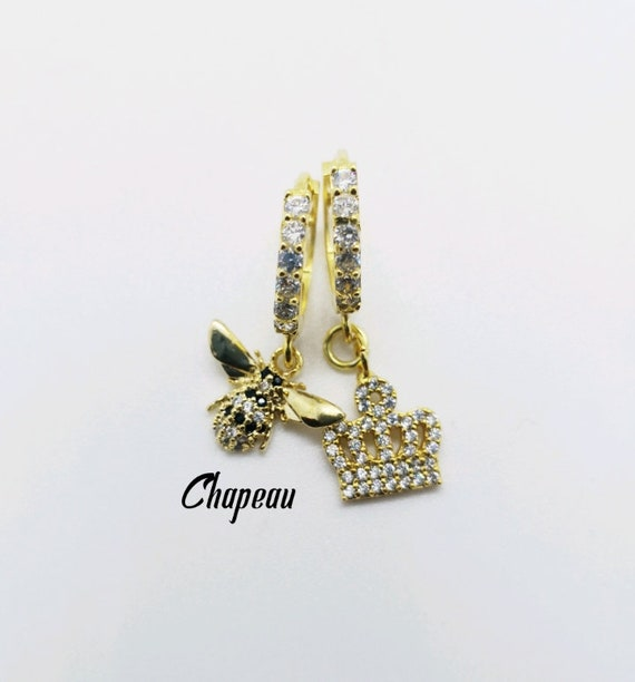 CZ hoop earrings with CZ pave charms