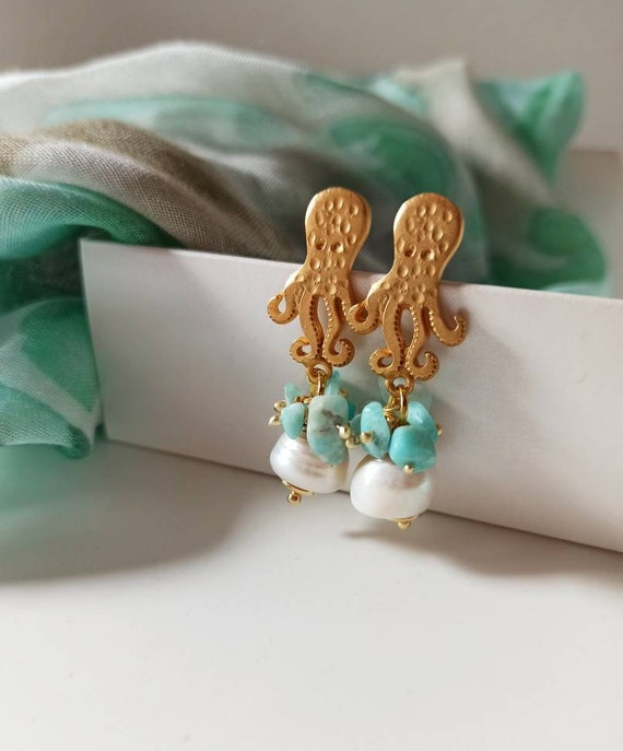 Octopus Earrings with Baroque Pearls