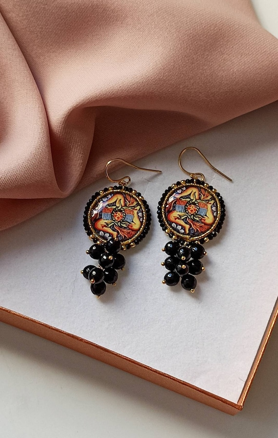 Sicilian Tile Earrings with black cluster