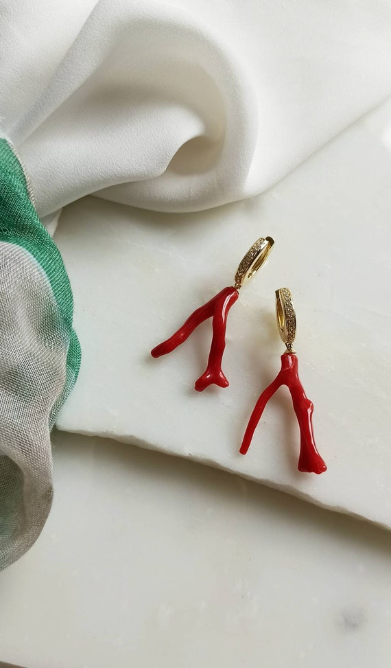 Hoop Earrings with Red Coral branches