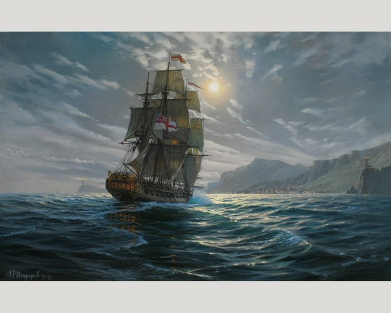 Dream-art Free shipping Oil painting seascape sail boats with ocean waves canvas