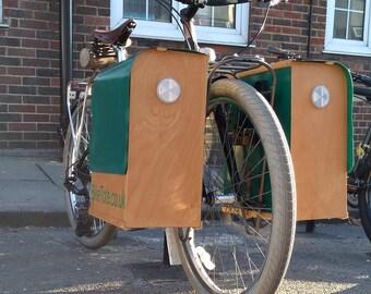 BikeTote Cargo: Stylish, hand-made, waterproof, wooden cargo box panniers