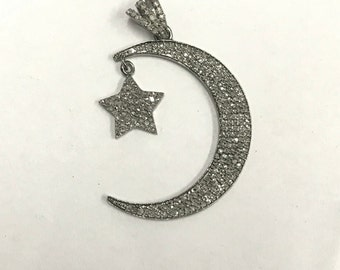 Moon star pendant etsy 925 sterling silver moon star pendant with diamond aloadofball Image collections