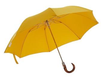 English Telescopic Umbrella: Handmade, Strong in Yellow
