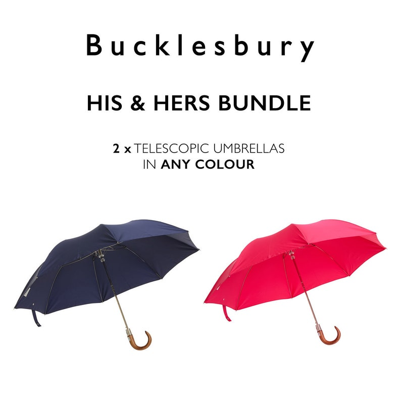 His /& Hers Bundle Two Handmade English Telescopic Umbrellas in any colour