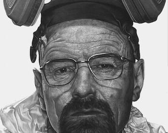 Breaking Bad, Walter White, Heisenberg, Art print, Drawing, Portrait, Artwork, Gift, Brian Cranston, Sketch
