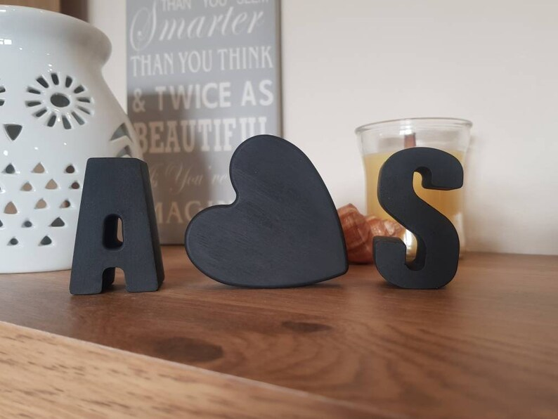 Boyfriend gift| anniversary gift Concrete initials Gift Set fully painted||black letters |valentines day gift||Personalised Words||
