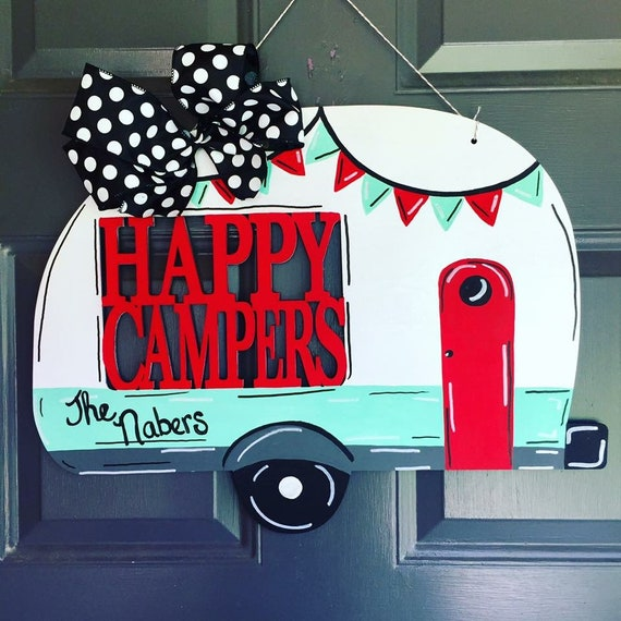 Happy Camper Door Hanger, Camper, personalized Camper