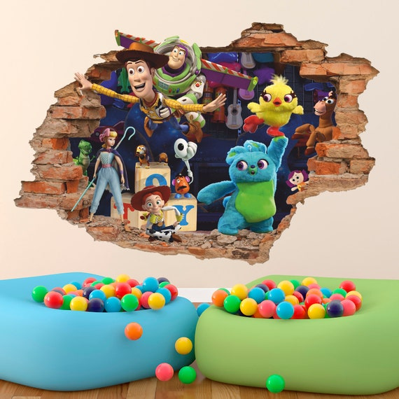 3D Window Wall Decal Sticker Toy Story Buzz Lightyear Woody