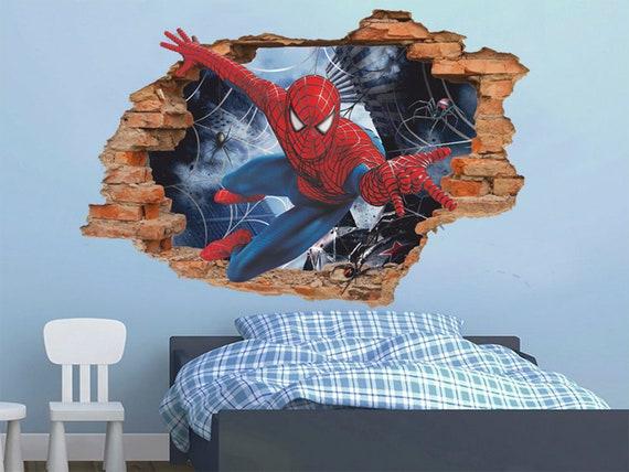 Spiderman 3D Wandtattoo, Wandaufkleber, abnehmbare Vinyl-Aufkleber, Kinder  Zimmer Wandkunst, Kinder Cartoon-Dekor