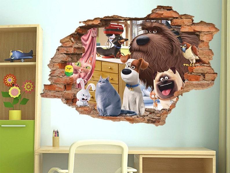 The Secret Life Of Pets 3d Wall Decal Wall Sticker Removable Vinyl Sticker Kids Room Wall Art Children Cartoon Decor