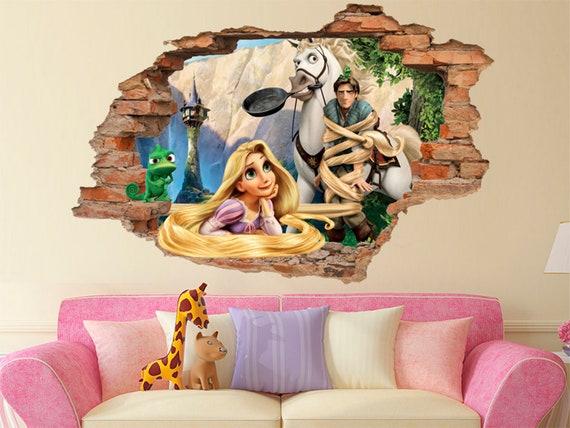Tangled 3d Wall Decal Disney Wall Sticker Removable Vinyl Sticker Kids Room Wall Art Children Cartoon Decor 001