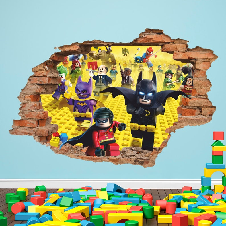 Lego Batman Lego 3D Wall Decal Removable Vinyl Sticker Children Cartoon Decor Wall Art Toys Wall Sticker