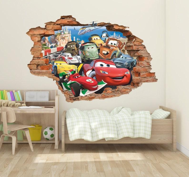 Disney Cars 3d Wall Decal Lightning Mcqueen Wall Sticker Removable Vinyl Sticker Kids Room Wall Art Children Decor