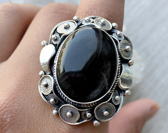 Adjustable rings silver Vintage ring Armenian handmade ring Filigree ring Black onyx ring sterling silver for women black stone oval ring