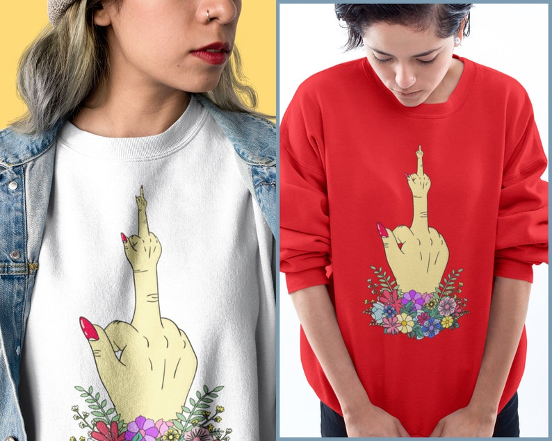 c8bb1dc6b Feminist Sweatshirt Fuck You Girl Boss Middle Finger | Etsy