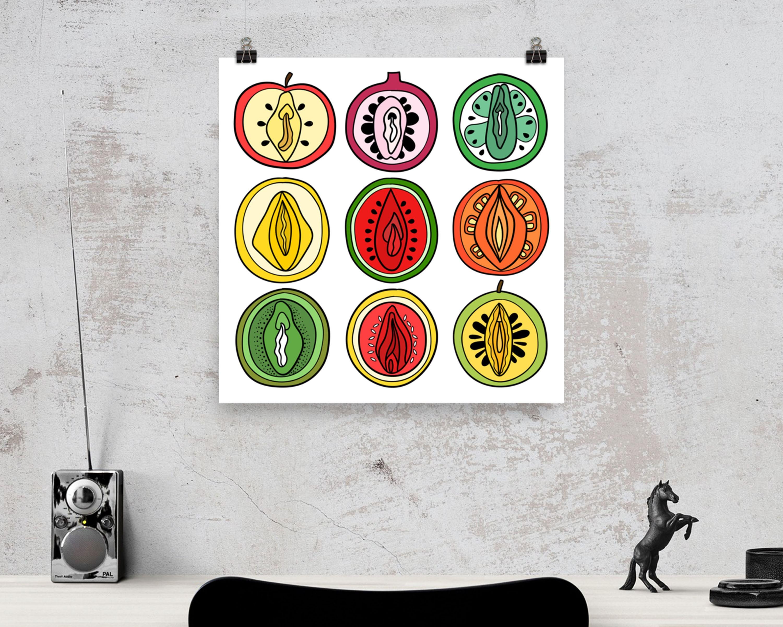 Body Positive Art, Vagina Poster, Vulva Art, Fruit Print, Bedroom Wall  Decor, Kitchen Wall Art, Food Poster, Kitchen Decor, Female Body