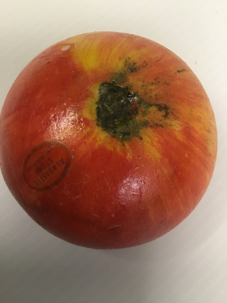 Alabaster Tomato From Italy Handpainted Handcarved Still Taped In Original Bag-G