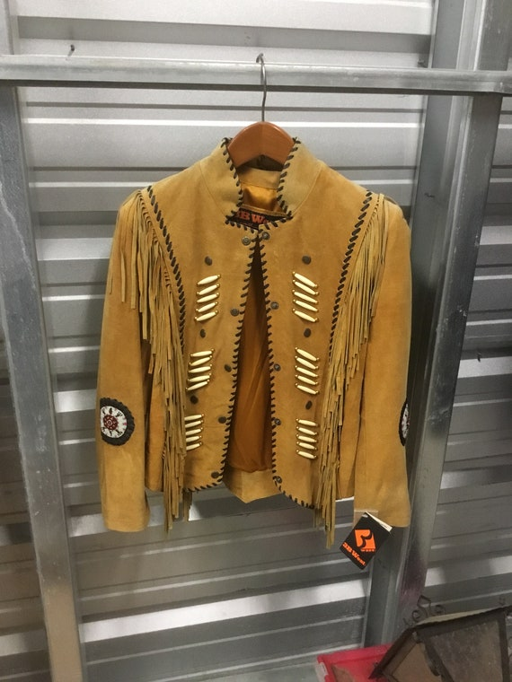 New Vintage Leather Fringed Western Jacket