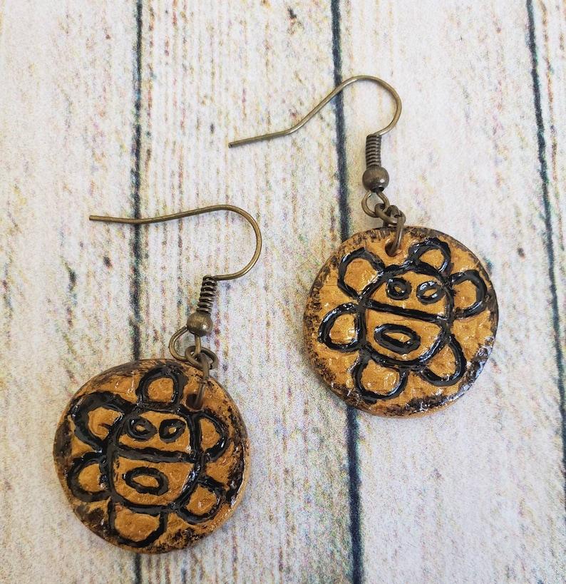 GoldBlack Taino/'s Sun God or Sol Ta\u00edno Earrings and Necklace set