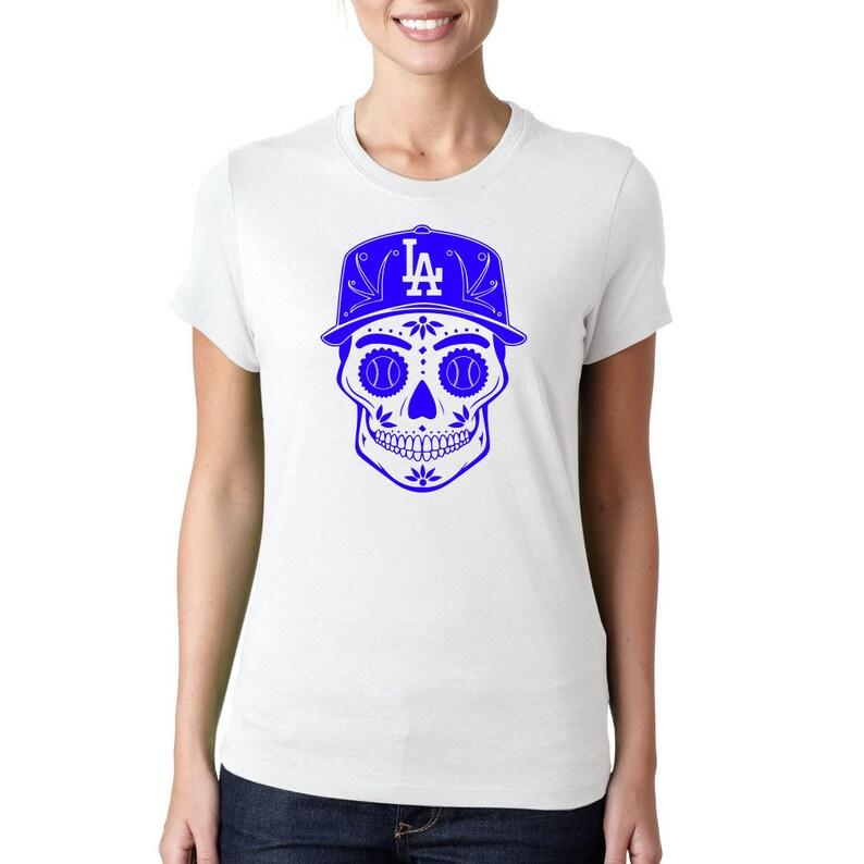 Womens LA Dodgers Shirt - Dia de los Muertos Skull - Dodgers - Los Angeles  - Dia de los Dodgers - Dodgers Skull